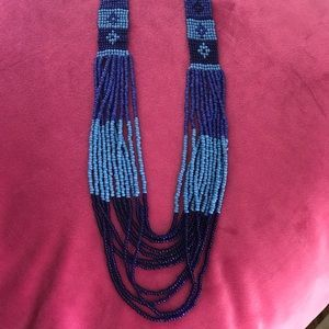 Long beaded statement necklace